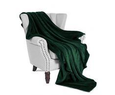 Exclusivo Mezcla Luxus Oversize Flanell Samt Plüsch Überwurf Decke – 127 x 177,8 cm (Forest grün) waldgrün