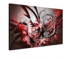 LANA KK - Leinwandbild Grow Red abstraktes Design auf Echtholz-Keilrahmen – Fotoleinwand-Kunstdruck in rot, einteilig & fertig gerahmt in 120x80cm