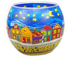 Himmlische Düfte Geschenkartikel CC240 Tischdekoration, Street by Night Windlicht Glas 11 x 11 x 9 cm, bunt