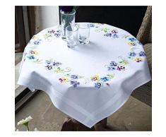 Vervaco Tischdecke Die schönsten Stiefmütterchen bedruckte Decke/Läufer mit Webrand, Baumwolle, Mehrfarbig, 80.0 x 80.0 x 0.30000000000000004 cm, 1 Einheiten