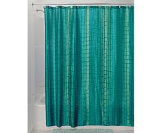 InterDesign Moxi Duschvorhang 180x180 | Designer Duschvorhang mit 12 Löchern und Kachelmuster | wunderschöne Edelknitter-Optik | Polyester aquamarin