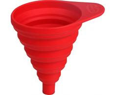 Dr. Oetker Silikon-Trichter Flexxibel, kleiner Trichter für präzises Befüllen, hochwertiger Küchenhelfer aus Platinsilikon, faltbarer Trichter zum platzsparenden Verstauen - hitzebeständig bis 230 Grad, (Farbe: rot), Menge: 1 Stück