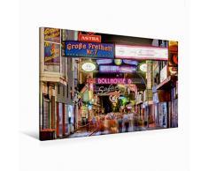 Calvendo Premium Textil-Leinwand 120 cm x 80 cm quer Die Große Freiheit auf St. Pauli in Hamburg | Wandbild, Bild auf Keilrahmen, Fertigbild auf echter Leinwand, Leinwanddruck
