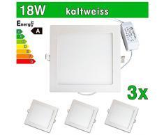 LEDVero 3x Ultraslim LED Panel SMD 2835, 18 W, eckig Deckenleuchte Lampe Einbau Leuchte Licht Strahler, kaltweiß SP217