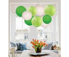 EIN Liittle Tree Papierlaternen, gemischt, rund, für Hochzeit, Geburtstag, Party, Dekoration, umweltfreundlicher Lampenschirm (12), 20,3 cm + 25,4 cm