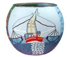 Windlicht Glas Cup Teelichthalter Kerzenhalter FISCHERBOOT 2 Größe 9 x 11 cm als Tischdekoration