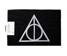 Harry Potter Fußmatte Deathly Hallows schwarz, aus Kokosfaser, Unterseite aus PVC.
