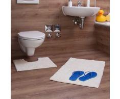 Relaxdays Badgarnitur 2-teilig, Streifen-Design, Für Fußbodenheizung, Waschbar, Badematte und WC-Vorleger, Für Stand-WC, 80 x 50 cm, creme / champagner