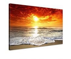 LANA KK - Leinwandbild Das Meer Landschaft auf Echtholz-Keilrahmen – Szenerie und Natur Fotoleinwand-Kunstdruck in orange, einteilig & fertig gerahmt in 100x70cm