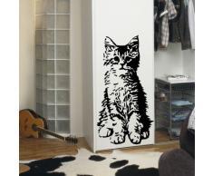 INDIGOS WG10522-70 Wandtattoo w522 süße Katze Wandaufkleber 80 x 41 cm, schwarz