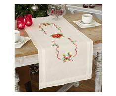 Vervaco Tischläufer Weihnachtsstern Vorgedruckter Läufer mit Webrand-Stickpackung, Baumwolle, Mehrfarbig, 40 x 100 x 0.3 cm