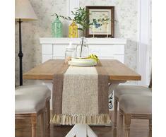 PHNAM Tischläufer mit Quasten, Leinen, Baumwolle, Kaffee, Esstischläufer, 228 cm lang, rutschfest, für Zuhause, Küche, Party, Hochzeit, Dekoration, maschinenwaschbar