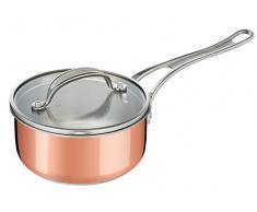 Tefal E49022 Jamie Oliver Triply Copper Stielkasserolle mit Glasdeckel, Dreischichtmaterial (edelstahl/Aluminium/Kupfer), 16 cm