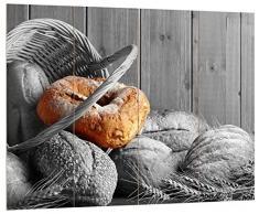 Pixxprint frisch gebackene Brötchen in geflochtenem Korb schwarz/weiß, MDF Bretterlook Format: 80x60cm, Wanddekoration Holzbild, Holz, bunt, 80 x 60 x 2 cm