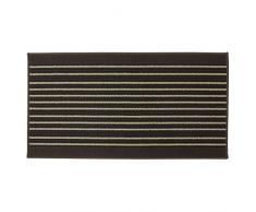 JVL Vigo gestreift Rückseite Maschinenwaschbar Eingang Läufer Teppich, Polypropylen/Latex, beige, 110 x 57 x 1,2 cm