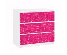 Apalis 91669 Möbelfolie für Ikea Malm Kommode Herz Musterdesign, größe 3 mal, 20 x 80 cm