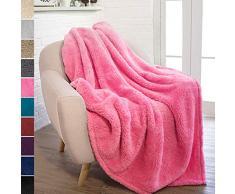 PAVILIA Pavillia Überwurfdecke aus Plüsch Sherpa für Couch Sofa, Flauschiger Microfaser Fleece Überwurf, weich, flauschig, gemütlich, leicht, solide Decke, Polyester, Rose, 50 x 60 Inches