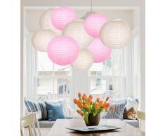 A Little Tree Papierlaternen, rund, für Hochzeit, Geburtstag, Party, Dekoration von einem kleinen Baum, Pink/Weiß (12), 20,3 cm + 25,4 cm