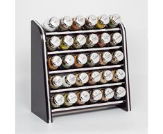 Gald Gewürzregal, Küchenregal für Gewürze und Kräuter, 30 Gläser, Holz, Venge (schwarz)/glänzend, 31.5 x 34.5 x 14.5 cm