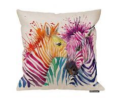 HGOD Designs Zebra Kissenbezug mit Zebramuster, Wasserfarbe, Zebra, Kuss, Baumwolle, Leinen, Polyester, Dekoration, Heimdekoration, Sofa, Schreibtisch, Stuhl, Schlafzimmer, 40,6 x 40,6 cm 18x18 Inch A2-0099