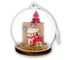 ZEP S.r.l. Bergen Weihnachtskugel, Holz, Rot, Weiß, Natur und Klar, Für Bildformat 3,5 x 4,4 cm, Durchmesser 9 cm