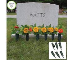 Evelots Grabvase für Frische/künstliche Blumen, Stabiler Erdspieß, 6 Stück