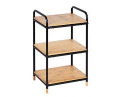 WENKO Regal Loft, mit 3 Etagen, kleiner Schrank aus Bambus & Metall, cooles Industrial Design, Ablage für Küche, Bad, Wohnzimmer, uvm., in Schwarz und Holz, 42 x 69 x 33,5 cm