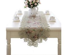 taixiuhome grün Hohl Lace Floral bestickt Modern Esszimmer Home Tischläufer Tisch Flaggen für Party Hochzeit Dekoration, Spitze, grün, 15.7 x 98.4 inches(40 x 250cm)