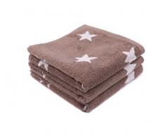 LASA Handtuch Stars – Für Frisiertisch, 33 x 50 cm, Waschbecken, 50 x 100 cm 70 x 140 cm braun