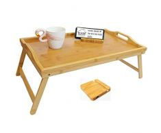 Klass Home Collection Premium Bambus Holz Tragbar Leichter Holztisch Frühstück im Bett Dinner Serviertablett Ständer mit klappbaren Beinen, 100% Naturbraun Markenware (extra groß) (L53 cm x B33 cm x H26 cm)