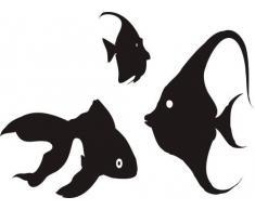INDIGOS WG10010-31 Wandtattoo W010 Fische Meer Wasser Aquarium 80 x 55, rot