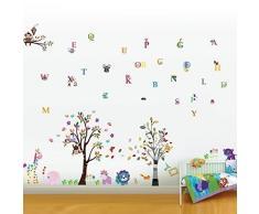 Walplus Wand Sticker Happy Tiere Alphabet Abnehmbare Selbstklebend Wandkunst Aufkleber Vinyl Heim Dekoration DIY Wohnzimmer Schlafzimmer Büro Dekor Tapete Kinderzimmer Geschenk, Mehrfarbig