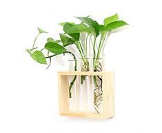 Ivolador Wandmontierter Blumentopf Reagenzglas Blumenknospe Vase Tischplatte Glas Terrariumin Holzständer Perfekt für die Anzucht von Hydrokultur-Pflanzen, glas, farblos, 3 test tube