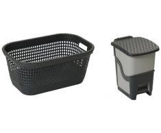 DEA HOMEART003A Set 2 Stücke Wäschekorb Rattan Laundry Basket 45 und Tretabfalleimer Rattan Bin 6, 62 x 42 x 28 cm, anthrazit