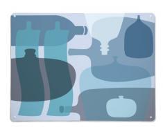 Neben Dem Kühlschrank 1 Stück, 100 x 75 cm, Emailliert, Holzofen, Baustahl, Design Zehn Flaschen Metall Wanddekoration, Große MAGNET- Schreibtafel, Blau