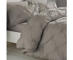 Signature Elissa Delicate 100% Baumwolle, Classic Gerüschte Rosette verziert Bettbezug-Set, Einzelbett, Altrosa, Baumwolle, Silber, Doppelbett