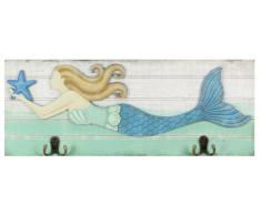 Young s Inc Young s Holz Mermaid Wandhaken, 19.75-inch, Multi