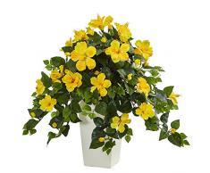 Nearly Natural Fast Natur Hibiskus Kunstpflanze in Pflanzentopf, Tower, weiß, gelb