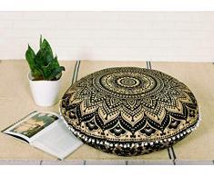 Popular Handicrafts Mandala Round Hippie Bodenkissen 24 Pillow Cover schwarz/goldfarben