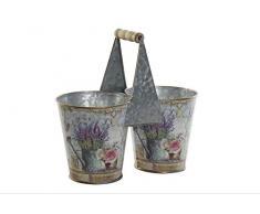 Item Blumentopf aus Metall, doppelt, Lavendel, 25 x 23 x 12 cm, Grau