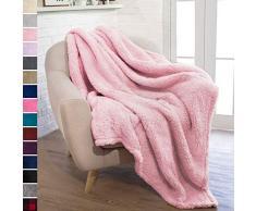 PAVILIA Pavillia Überwurfdecke aus Plüsch Sherpa für Couch Sofa, Flauschiger Microfaser Fleece Überwurf, weich, flauschig, gemütlich, leicht, solide Decke 50 x 60 Inches Hellrosa Farbe