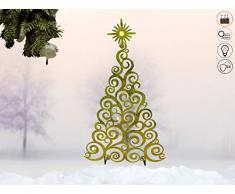 ABC Home Garden Solarleuchte ❄ ❄ Solarstecker Weihnachtsbaum ❄ ✔ Lichtsensor ✔ Ein- & Ausschalter ✔ solarbetrieben, Metall, Gold, ca. 1 cm T x 44 cm B x 92 cm H