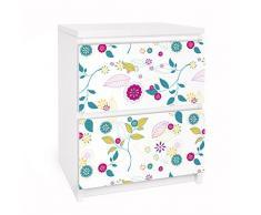 Apalis 91042 Möbelfolie für Ikea Malm Kommode - Selbstklebe Blumencocktail, größe 2 mal, 20 x 40 cm