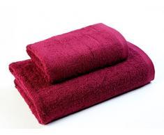 Das Dragon Blanco Pack Waschbecken mit Badetuch, 100% Baumwolle, Dunkles Granat, 50 x 100; 100 x 150 cm
