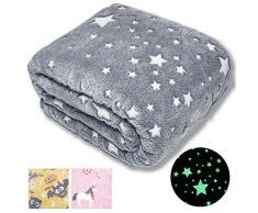 Forestar Glow Stars Decke, 127 x 178 cm, leuchtet im Dunkeln, Polyester-Fleece, Sofa- und Bettüberwurf für Kinder, Grau