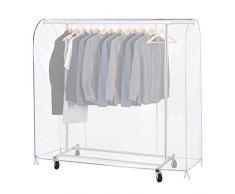 Growson Kleiderständer-Abdeckung, transparenter Staub-Kleiderbezug mit doppelter Durchgehender Frontreißverschluss, Abdeckung für Kleiderständer 71x20x52 inch farblos