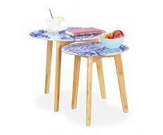 Relaxdays 2er Set Beistelltisch, Bambus Beine, Glas Tischplatte, Satztische, florales Muster, 40 & 50 cm Ø, weiß/blau, 45 x 50 x 50 cm