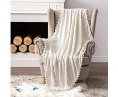 MIULEE Ultra weiche Fleecedecke Luxuriös Fuzzy für Couch oder Sofa, leicht, flauschig warm, Bettdecke mit niedlichen Pompons Twin(60x80) cremeweiß