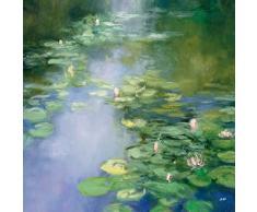 Leinwandbild, Blue Lily II, Seerosen im Teich, Gemälde, blau, grün, 30 x 30 x 3,5 cm von Eurographics