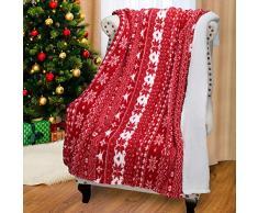 Katalonien Plüsch Fleece Überwurf Decke, Super Weich Warm Shu Velourssamt Lammfell Weihnachten Wendedecke Kuscheldecke, 154,9 x 127 cm rot